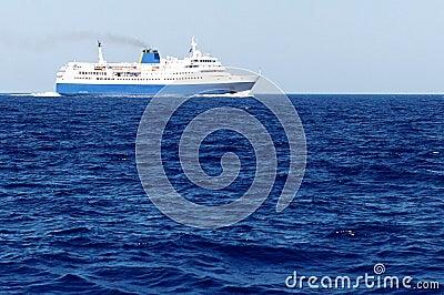 Ferry on blue sea