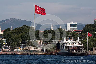 Ferry Boat Istanbul Flag Editorial Image