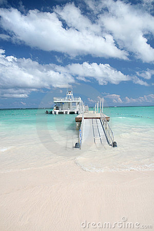 Ferry boat and tropical beach