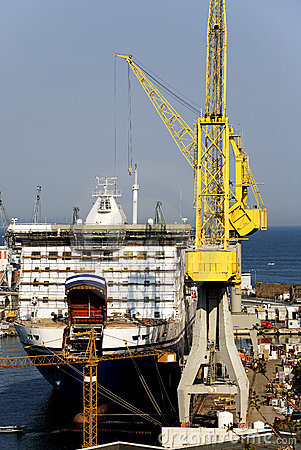 Ferry-boat under construction in a shipyard