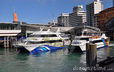 Ferry Boats Leaving Auckland Wharf, New Zealand Editorial Photo