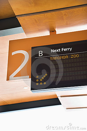 Ferry departure board.