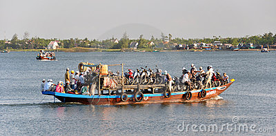 Ferry on the Hoi An River, Vietnam Editorial Stock Photo