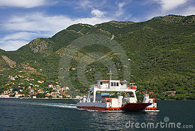 Ferry in the Kotor bay, Montenegro
