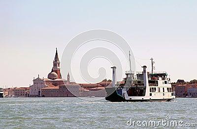 Ferry over the Canale della Giudecca, Venice Italy