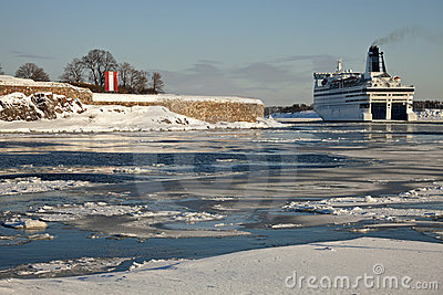 Ferry passing by Suomenlinna Sea Fortress