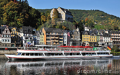 Ferry with tourists in Cochem city in Germany Editorial Photo
