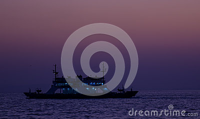 Ferry at Twilight Stock Photo