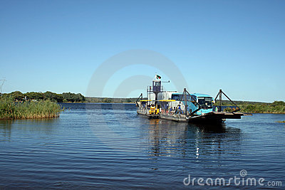 Ferry on Zambezi River Editorial Photo