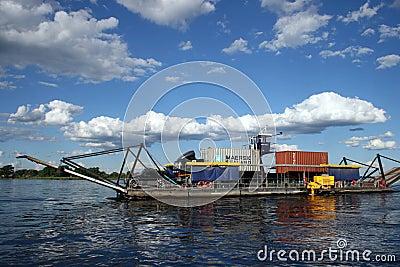 Ferry on Zambezi River Editorial Image