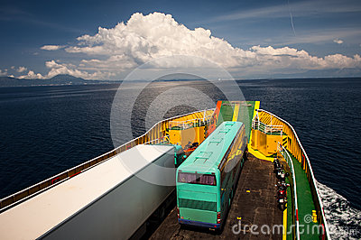 Ferryboat transporting vehicles