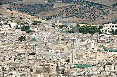 Fes old city with town wall - Morocco