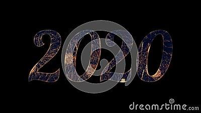 Festa dei fuochi d'artificio d'oro nel 2020, testo con alfa / transperanza stock footage