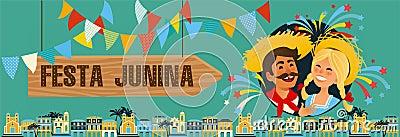 Festa Junina - Brazil June Festival. Folklore Holiday. Characters. Vector Illustration