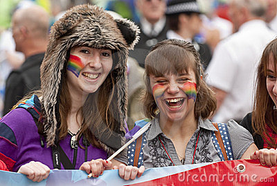 Festival goers have a laugh Editorial Stock Image