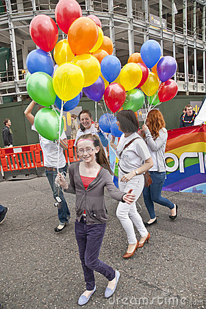 Festival goers from Number 3 LGBT Support Editorial Stock Photo
