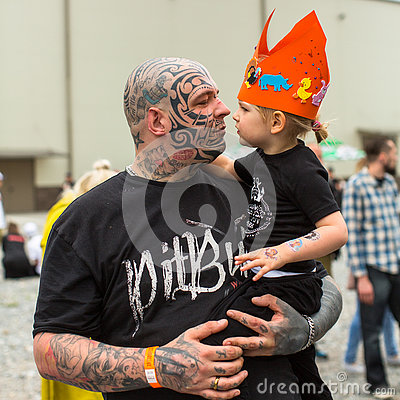 Free Festival Participant During The 11-th International Tattoo Convention In The Congress-EXPO Center Of Krakow. Royalty Free Stock Photos - 73814338