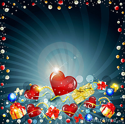 Festive background with boxes and hearts