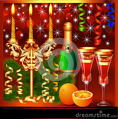Festive background with candles wine and glasses