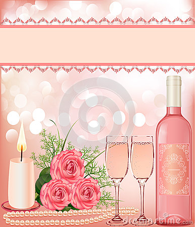 Festive background with rose,