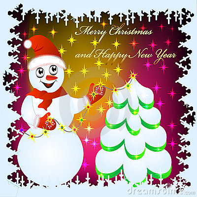 Festive background with snowman