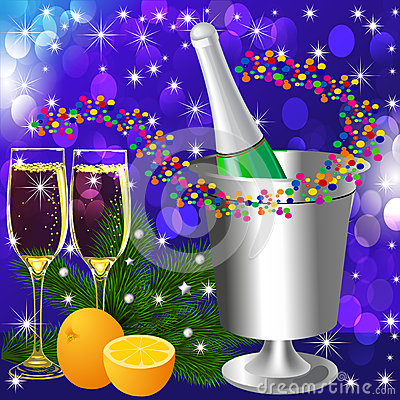 Festive background with wine goblet and orange