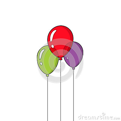 Festive balloons flying vector isolated on white background Vector Illustration