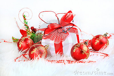 Festive balls with gift box