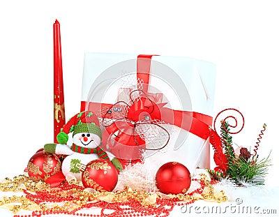 Festive balls with gift box