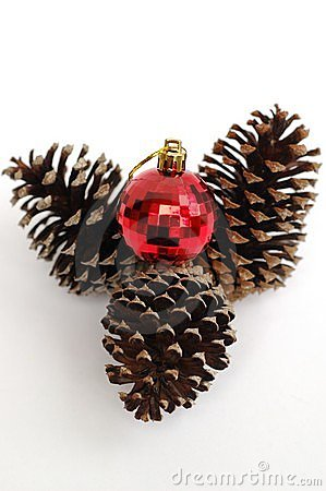 Festive bauble and pine cone