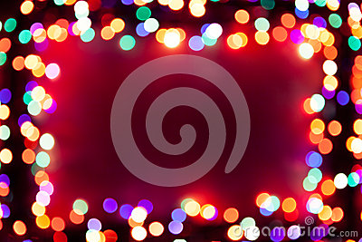 Festive bokeh lights frame