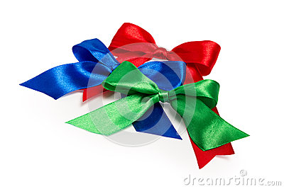 Festive bows made of ribbon