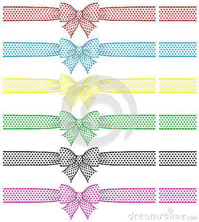 Festive bows with ribbons