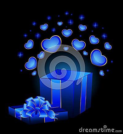 festive box with hearts