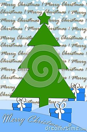 Festive card design with christmas tree