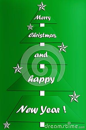 Festive card design with modern christmas tree