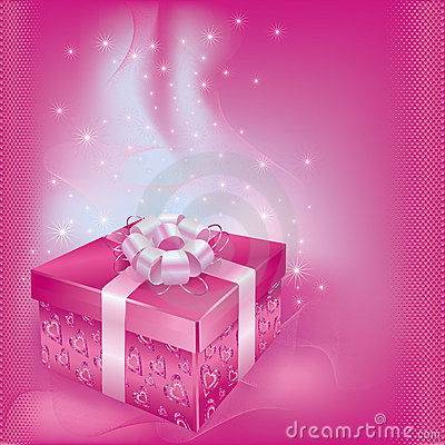 Festive card with gift box