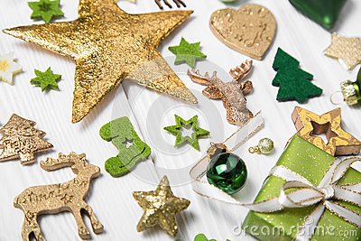 Festive christmas decoration in light green, white and golden co Stock Photo