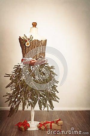 Festive Christmas Mannequin Stock Photo