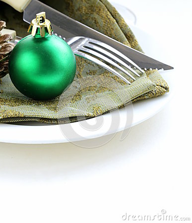 Festive Christmas table setting holiday