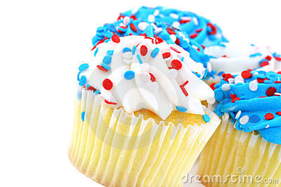 Festive cupcakes in red, white and blue