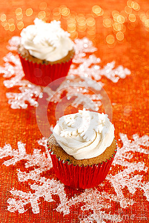 Festive cupcakes, snowflake, red golden glitter