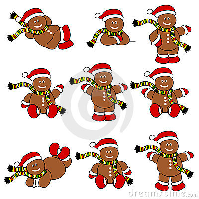 Festive Cute Gingerbread Men Set