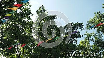 Festive de drapeaux en papier multicolore pour les fêtes Paysage pour une fête d'anniversaire pour enfants Décoration sur clips vidéos