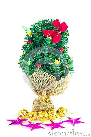 Festive decorated christmas pine tree
