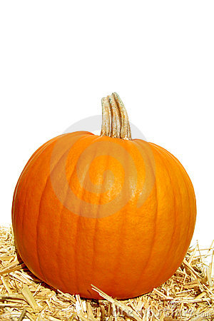 Festive Decorative Pumpkin and Straw Bale on White