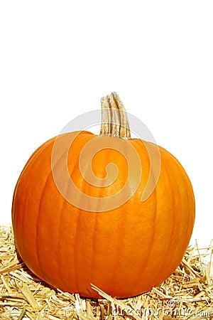 Festive Decorative Pumpkin and Straw Bale on White