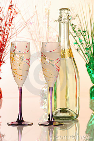 Festive glasses with champagne