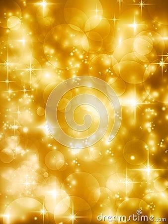Festive golde bokeh lights vector background