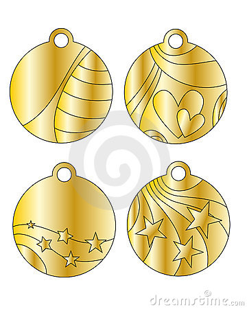 Festive golden tags